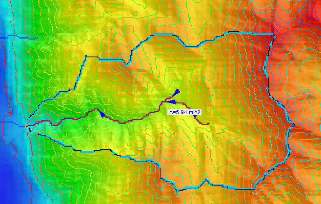 Basin delineated from shapefile