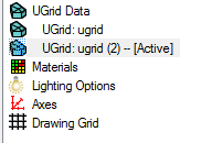 Display Options list showing multiple UGrids