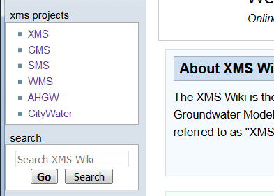 Example of the XMS Wiki Projects menu