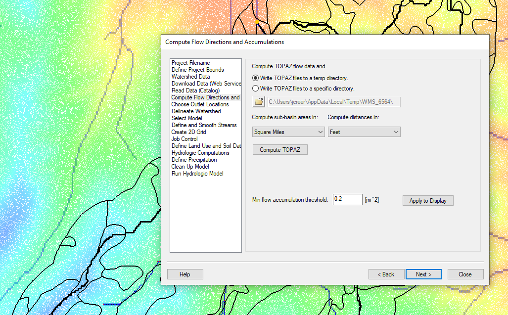 Example of the Hydrologic Modeling Wizard
