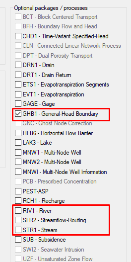 Example of MODFLOW head boundary packages available in GMS