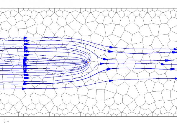 mod-PATH3DU pathlines around a well