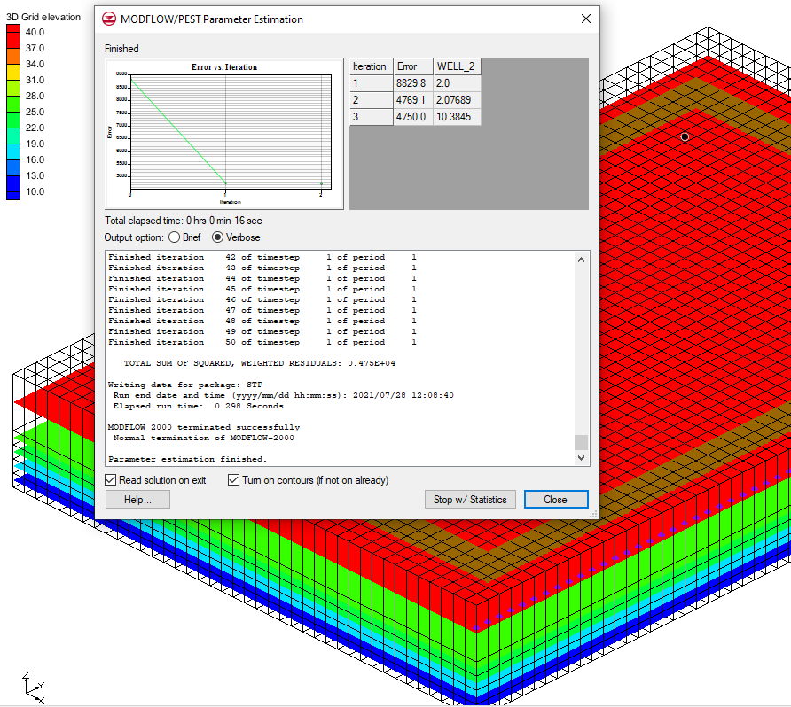 Example of PEST running using pumping rate as a parameter