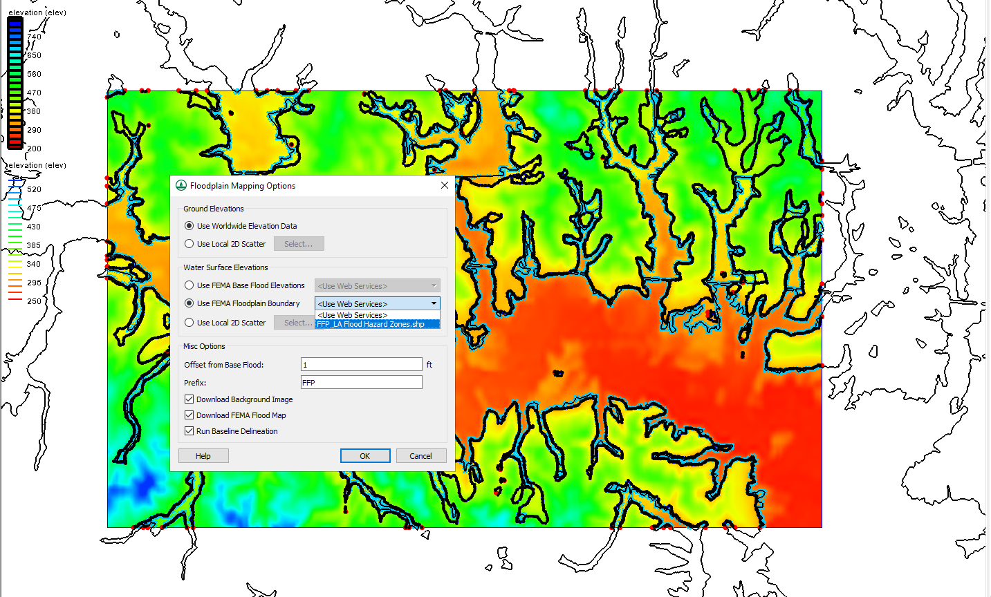 Example of using a shapefile with the Map Flood tool