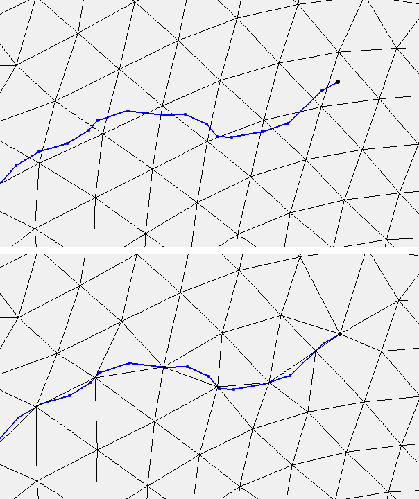 Example of snapping mesh nodes to arcs