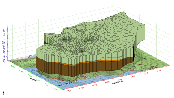 3D Unstructured Grid generated using the horizons approach