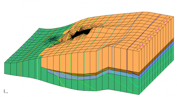 Oblique view of model with discontinuous layers