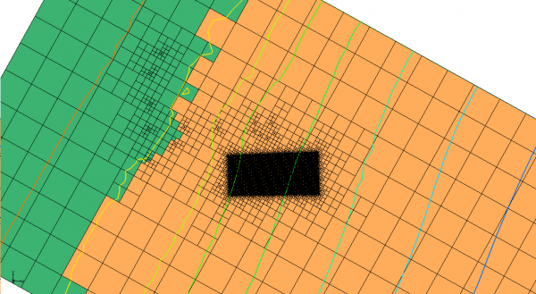 Plan view of quadtree unstructured grid