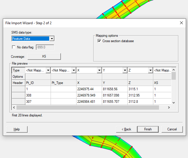The File Import Wizard for importing a cross section database